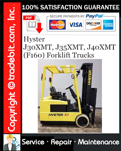 Thumbnail Hyster J30XMT, J35XMT, J40XMT (F160) Forklift Trucks Service Repair Manual Download ★
