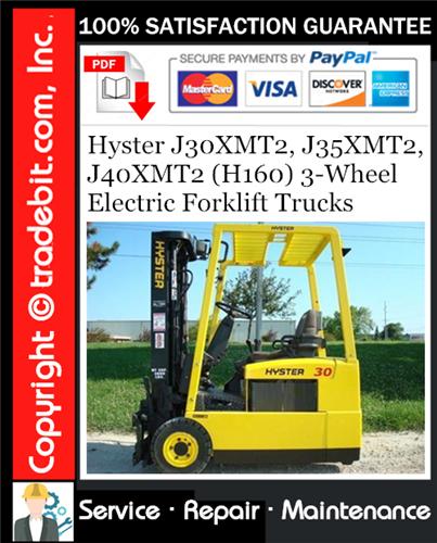Thumbnail Hyster J30XMT2, J35XMT2, J40XMT2 (H160) 3-Wheel Electric Forklift Trucks Service Repair Manual Download ★