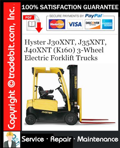 Thumbnail Hyster J30XNT, J35XNT, J40XNT (K160) 3-Wheel Electric Forklift Trucks Service Repair Manual Download ★