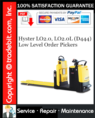 Thumbnail Hyster LO2.0, LO2.0L (D444) Low Level Order Pickers Service Repair Manual Download ★
