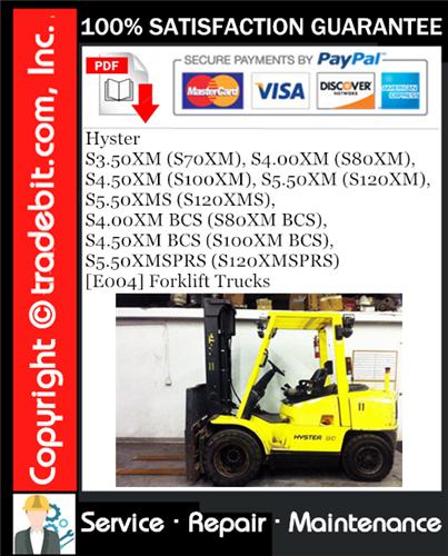 Thumbnail Hyster S3.50XM (S70XM), S4.00XM (S80XM), S4.50XM (S100XM), S5.50XM (S120XM), S5.50XMS (S120XMS), S4.00XM BCS (S80XM BCS),  S4.50XM BCS (S100XM BCS), S5.50XMSPRS (S120XMSPRS) [E004] Forklift Trucks