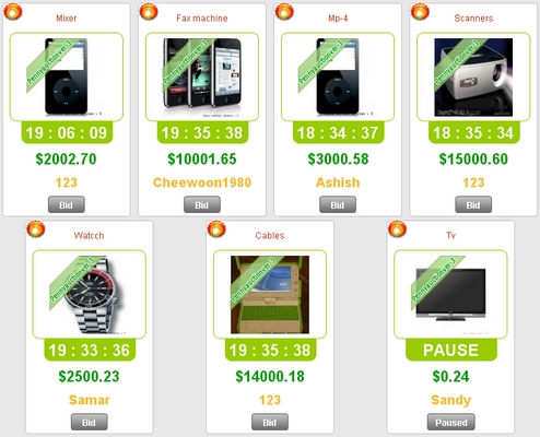 Pay for working 100 Swoopo Telebid Auction Script Software Php Ajax
