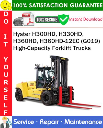 Thumbnail Hyster H300HD, H330HD, H360HD, H360HD-12EC (G019) High-Capacity Forklift Trucks Service Repair Manual PDF Download ◆
