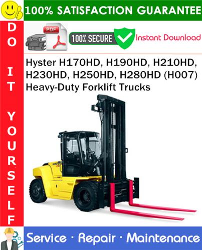 Thumbnail Hyster H170HD, H190HD, H210HD, H230HD, H250HD, H280HD (H007) Heavy-Duty Forklift Trucks Service Repair Manual PDF Download ◆