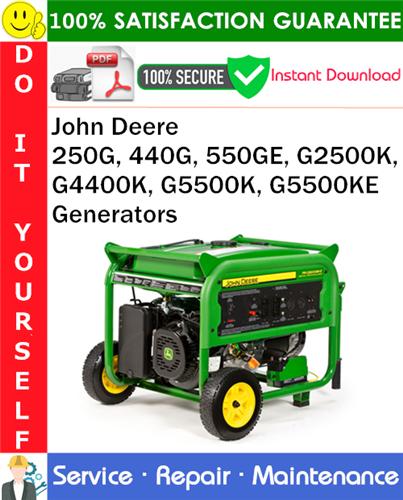 Thumbnail John Deere 250G, 440G, 550GE, G2500K, G4400K, G5500K, G5500KE Generators Service Repair Manual PDF Download ◆
