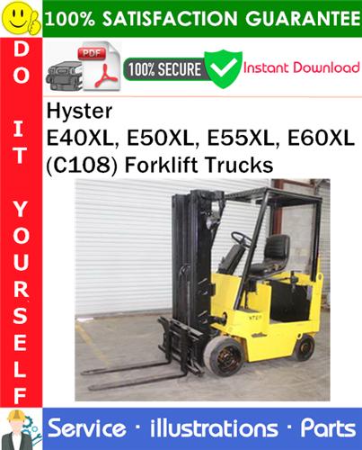 Thumbnail Hyster E40XL, E50XL, E55XL, E60XL (C108) Forklift Trucks Parts Manual PDF Download ◆