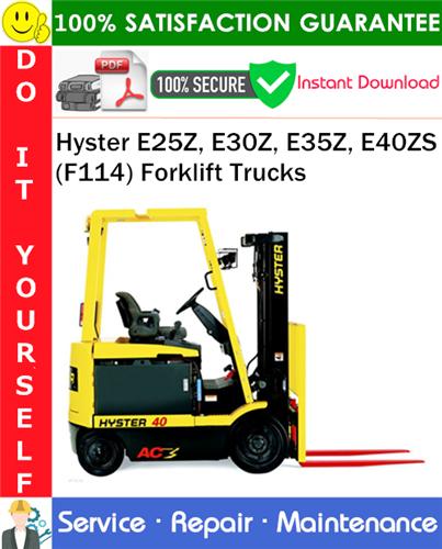 Thumbnail Hyster E25Z, E30Z, E35Z, E40ZS (F114) Forklift Trucks Service Repair Manual PDF Download ◆