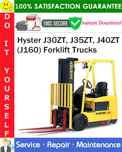 Thumbnail Hyster J30ZT, J35ZT, J40ZT (J160) Forklift Trucks Service Repair Manual PDF Download ◆