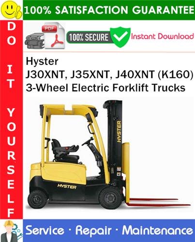 Thumbnail Hyster J30XNT, J35XNT, J40XNT (K160) 3-Wheel Electric Forklift Trucks Service Repair Manual PDF Download ◆