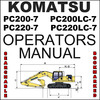 Thumbnail Komatsu PC200-7, PC200LC-7, PC220-7, PC220LC-7 Hydraulic Excavator Operators Manual - # 1 DOWNLOAD