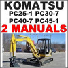 Thumbnail Komatsu PC25-1 PC30-7 PC40-7 PC45-1 Excavator Service Manual, Operation Maintenance -2- MANUALS - DOWNLOAD