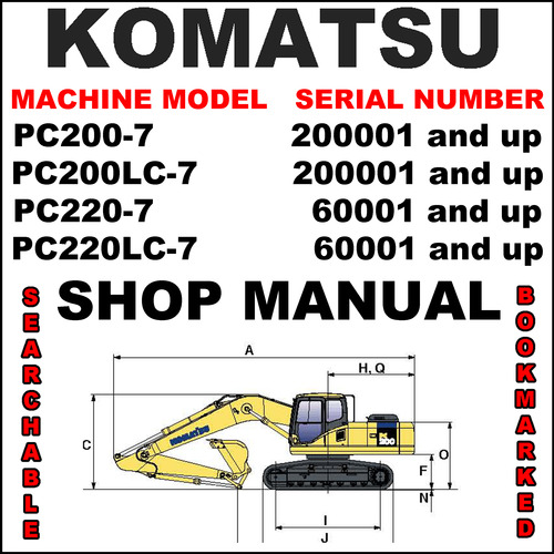 Pay for Komatsu PC200-7, PC200LC-7, PC220-7, PC220LC-7 Excavator Service Shop Repair Manual - IMPROVED - DOWNLOAD
