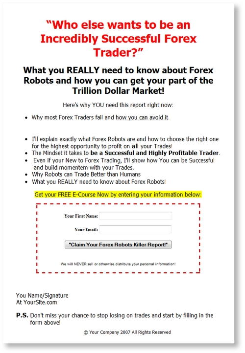 Pay for Forex Robots Email Messages Series PLR