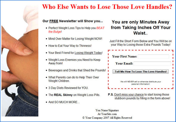 Pay for Diet/Weight Loss - Lose the Lovehandles Email Messages PLR
