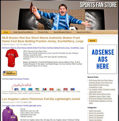 Pay for Sports Fan PLR Amazon Store Website