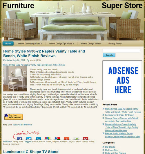 Pay for Home Furniture PLR Amazon Store Website Pre-Loaded