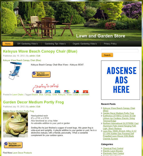 Pay for Lawn and Garden PLR Amazon Store Website