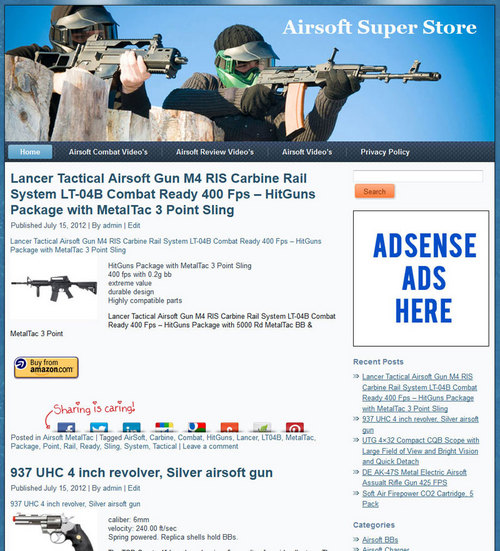 Pay for Airsoft PLR Amazon Store Website Pre-loaded