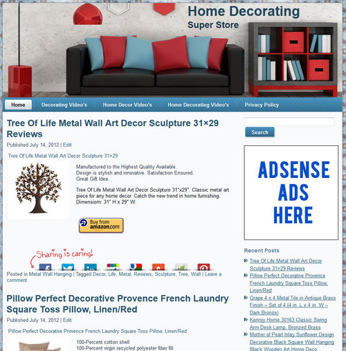 Pay for Home Decor PLR Amazon Store Website - Pre-Loaded