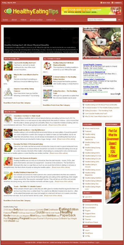 Thumbnail Healthy Eating PLR Website with Reviews