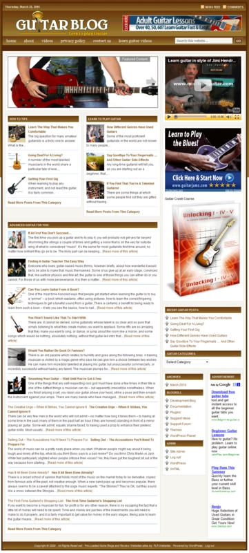 Thumbnail Learn to Play Guitar PLR Website Store