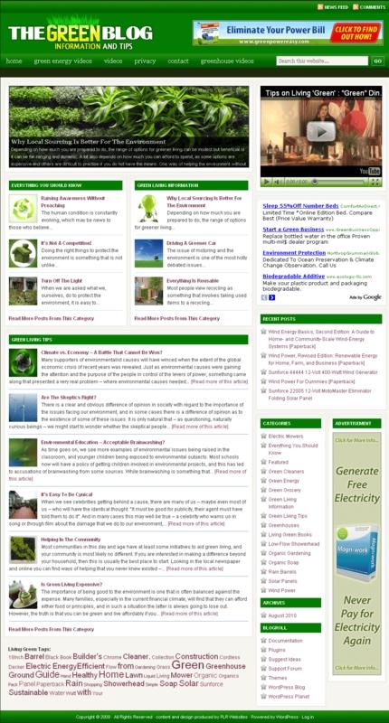 Pay for Living Green PLR Website, Amazon Clickbank, Adsense