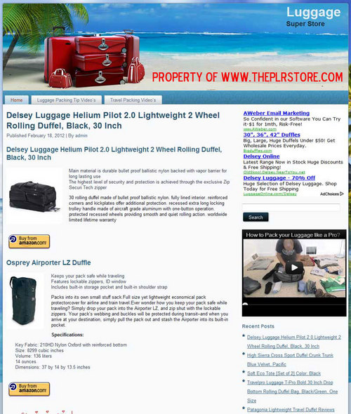 Pay for Luggage PLR Amazon Turnkey Store Website