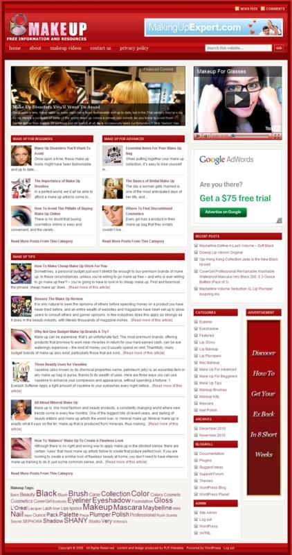 Thumbnail Makeup PLR Website, Amazon, Adsense, Clickbank