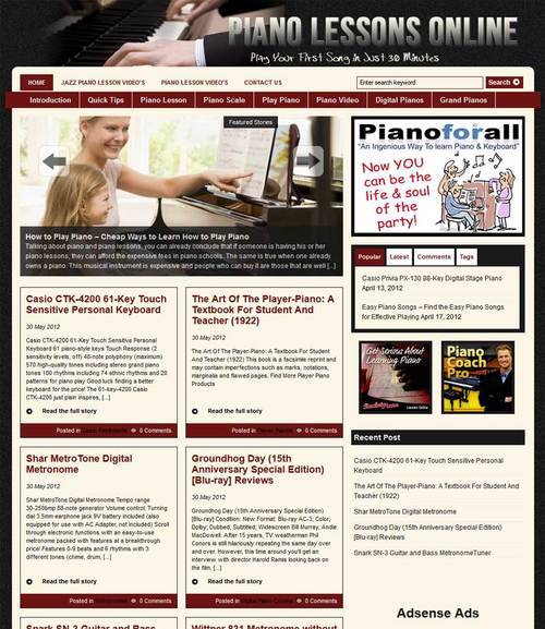 Thumbnail Piano Lessons PLR Website and Amazon Store