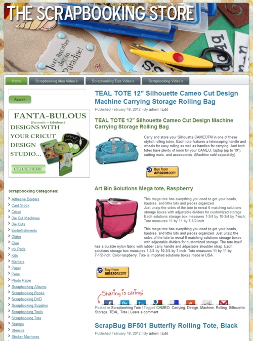 Pay for Scrapbooking PLR Amazon Turnkey Store Website