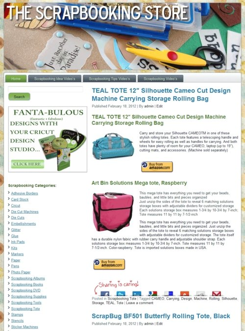 Thumbnail Scrapbooking PLR Amazon Turnkey Store Website