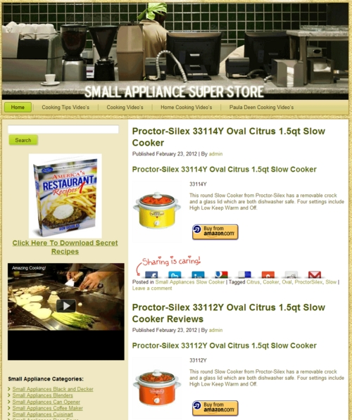 Thumbnail Small Appliance PLR Amazon Turnkey Store Website