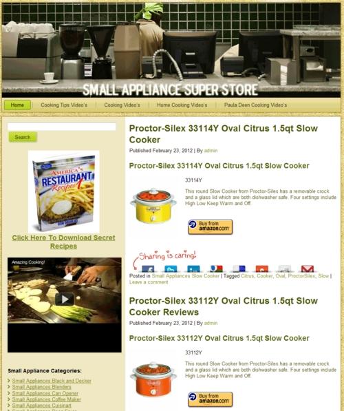 Thumbnail Small Appliance PLR Amazon Turnkey Store Website