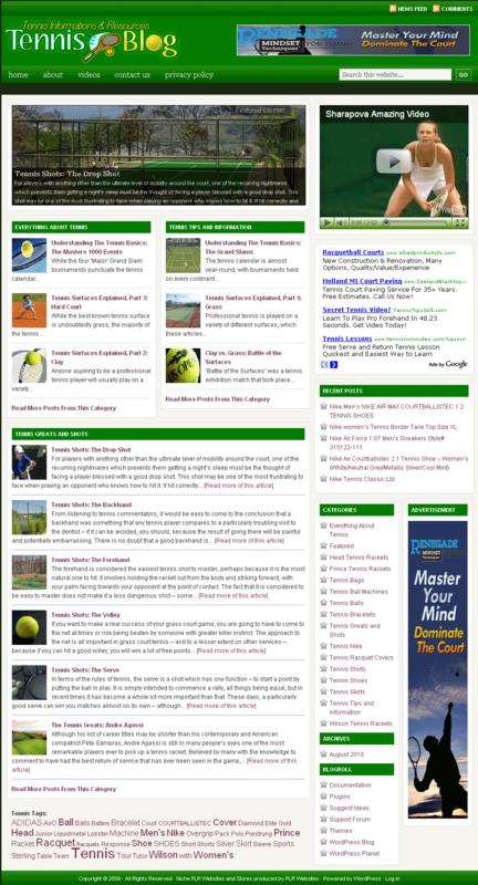 Thumbnail Tennis PLR Website and Amazon Store, Clickbank, Adsense