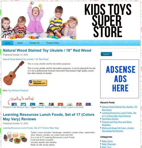 Pay for Kids Toys PLR Amazon Turnkey Store Website