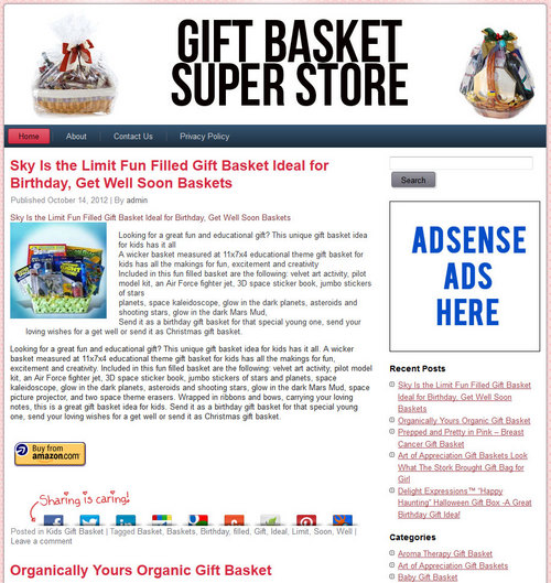 Pay for Gift Baskets PLR Amazon Pre-Loaded Store Website