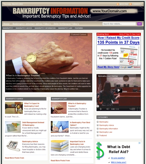 Pay for Banrupty PLR Website with Private Lable Rights
