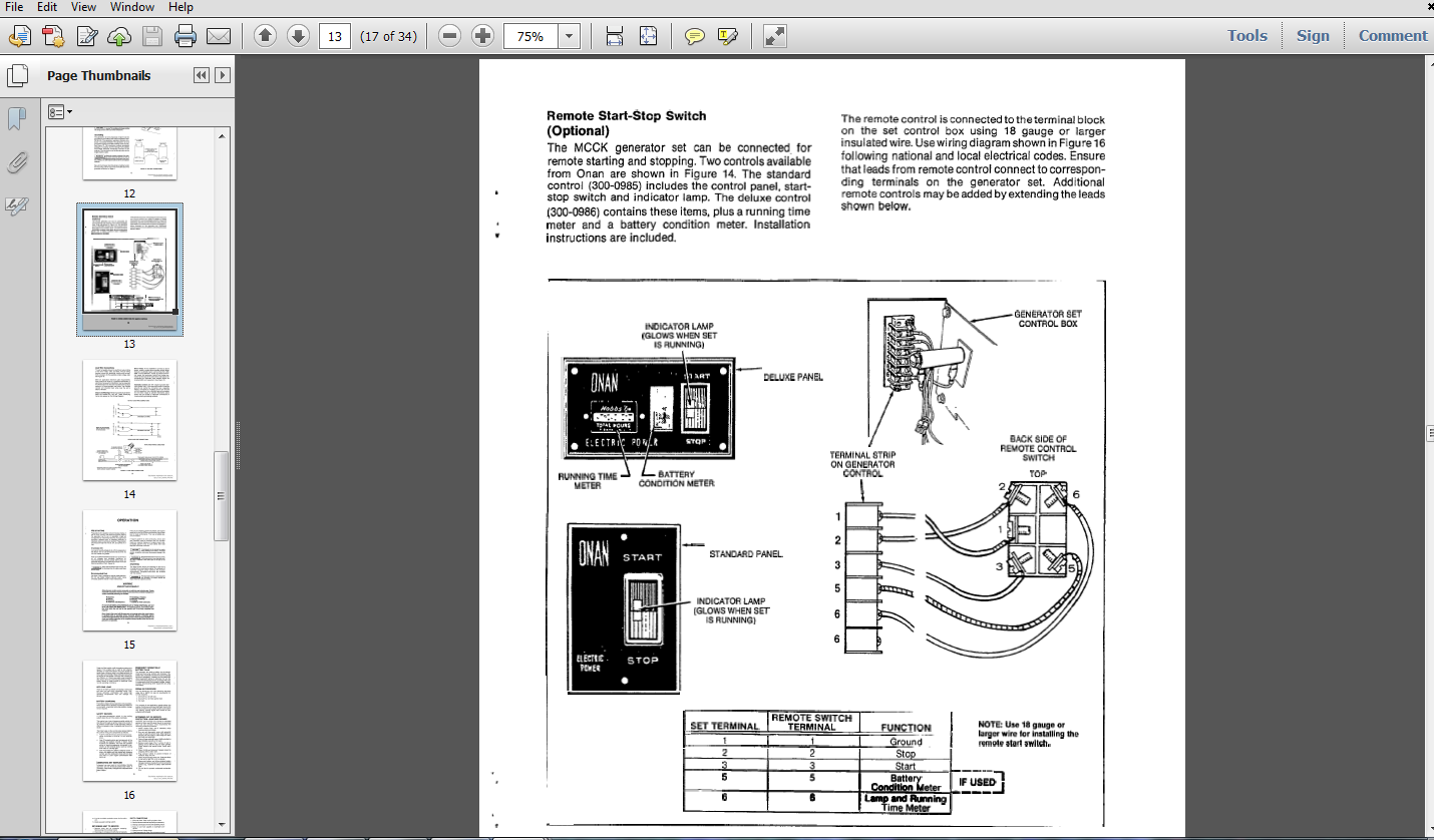 Thumbnail Onan MCCK GENERATOR OPERATORS MANUAL 927-0121