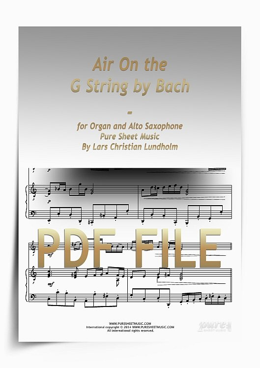 Thumbnail Air On the G String by Bach for Organ and Alto Saxophone (PDF file), Pure Sheet Music arranged by Lars Christian Lundholm
