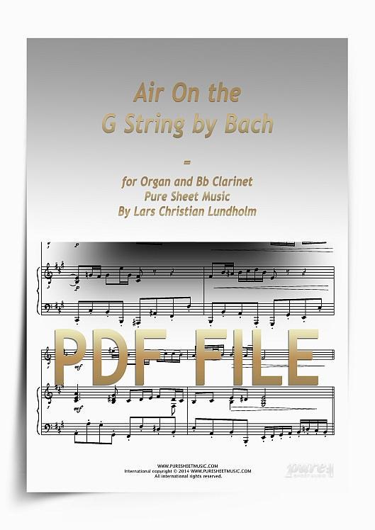 Thumbnail Air On the G String by Bach for Organ and Bb Clarinet (PDF file), Pure Sheet Music arranged by Lars Christian Lundholm