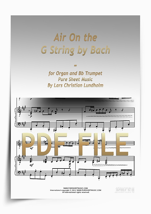 Thumbnail Air On the G String by Bach for Organ and Bb Trumpet (PDF file), Pure Sheet Music arranged by Lars Christian Lundholm