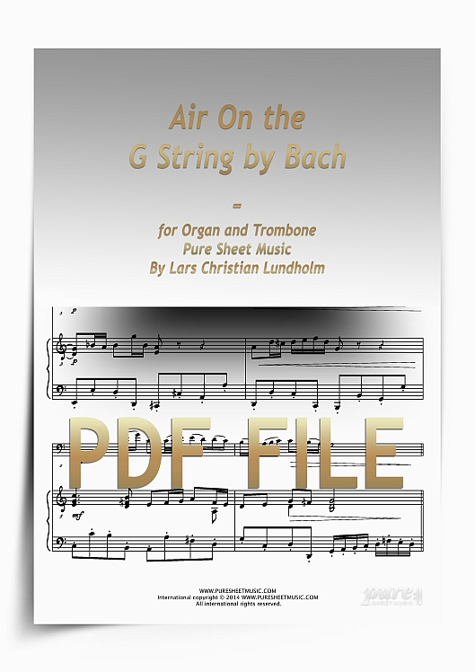 Thumbnail Air On the G String by Bach for Organ and Trombone (PDF file), Pure Sheet Music arranged by Lars Christian Lundholm