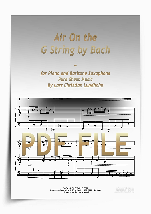 Thumbnail Air On the G String by Bach for Piano and Baritone Saxophone (PDF file), Pure Sheet Music arranged by Lars Christian Lundholm