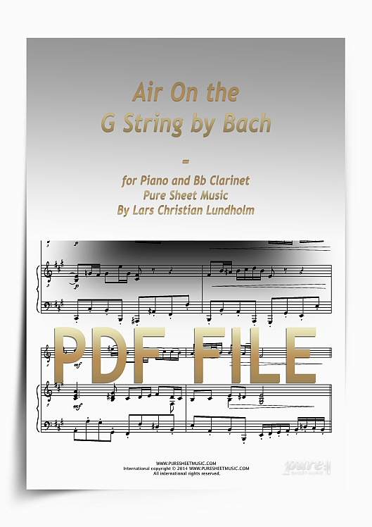 Thumbnail Air On the G String by Bach for Piano and Bb Clarinet (PDF file), Pure Sheet Music arranged by Lars Christian Lundholm
