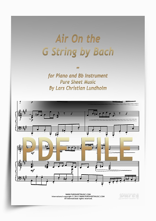 Thumbnail Air On the G String by Bach for Piano and Bb Instrument (PDF file), Pure Sheet Music arranged by Lars Christian Lundholm