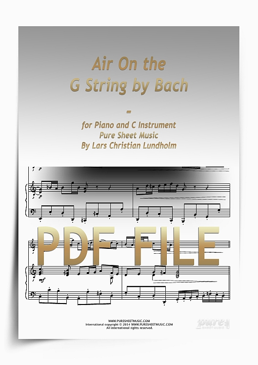 Thumbnail Air On the G String by Bach for Piano and C Instrument (PDF file), Pure Sheet Music arranged by Lars Christian Lundholm