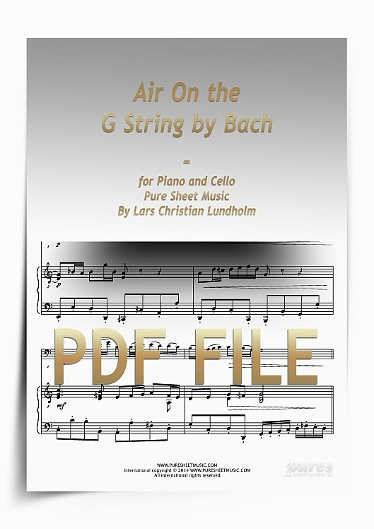 Thumbnail Air On the G String by Bach for Piano and Cello (PDF file), Pure Sheet Music arranged by Lars Christian Lundholm