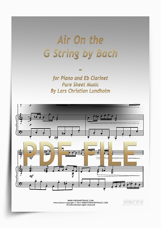 Thumbnail Air On the G String by Bach for Piano and Eb Clarinet (PDF file), Pure Sheet Music arranged by Lars Christian Lundholm