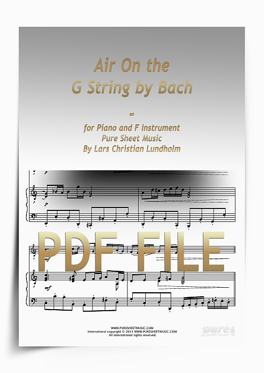 Thumbnail Air On the G String by Bach for Piano and F Instrument (PDF file), Pure Sheet Music arranged by Lars Christian Lundholm