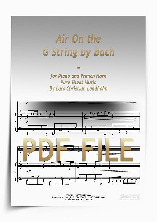 Thumbnail Air On the G String by Bach for Piano and French Horn (PDF file), Pure Sheet Music arranged by Lars Christian Lundholm